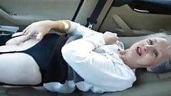Beautiful granny masturbates in her car