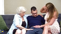 Hairy granny and mom sharing sons cock